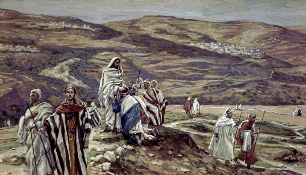 konfigurieren des Kunstdrucks in Wunschgröße Christ Sending Out the Seventy Disciples Two by Two von Tissot, James Jacques