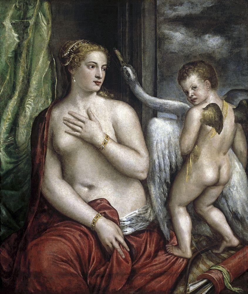 konfigurieren des Kunstdrucks in Wunschgröße Leda and the Swan von Titian