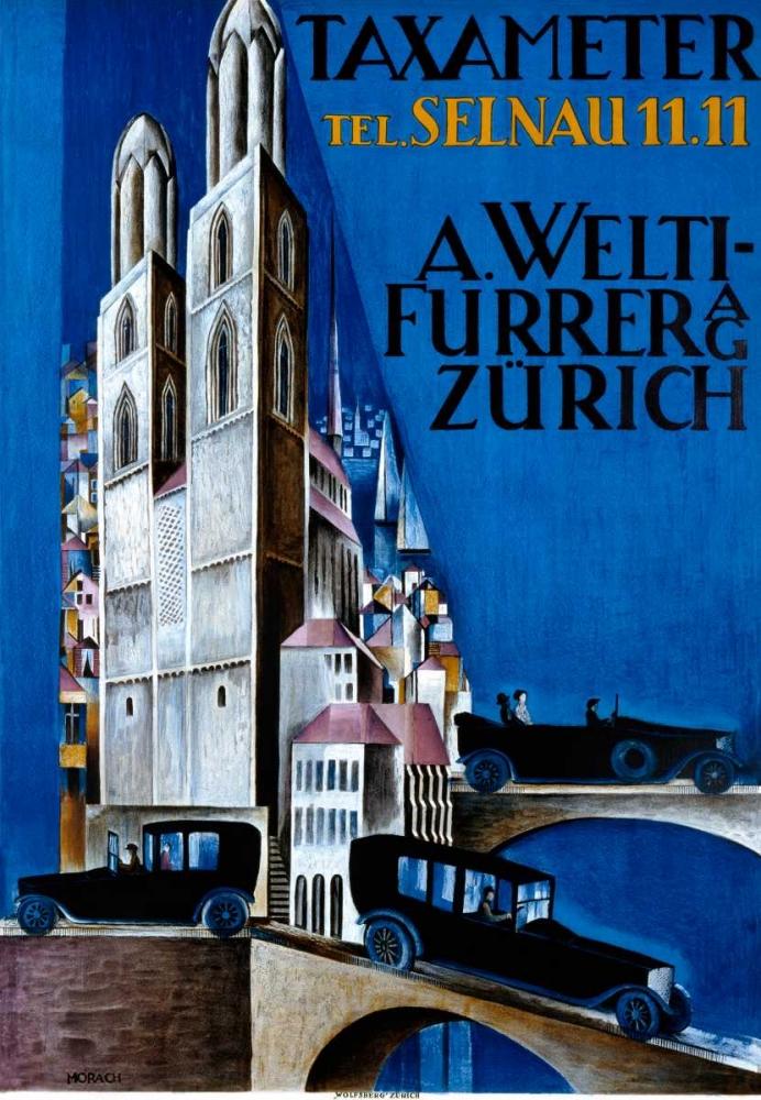 konfigurieren des Kunstdrucks in Wunschgröße Taxameter A Welti-Furrer AG / Zurich von Einzelbilder
