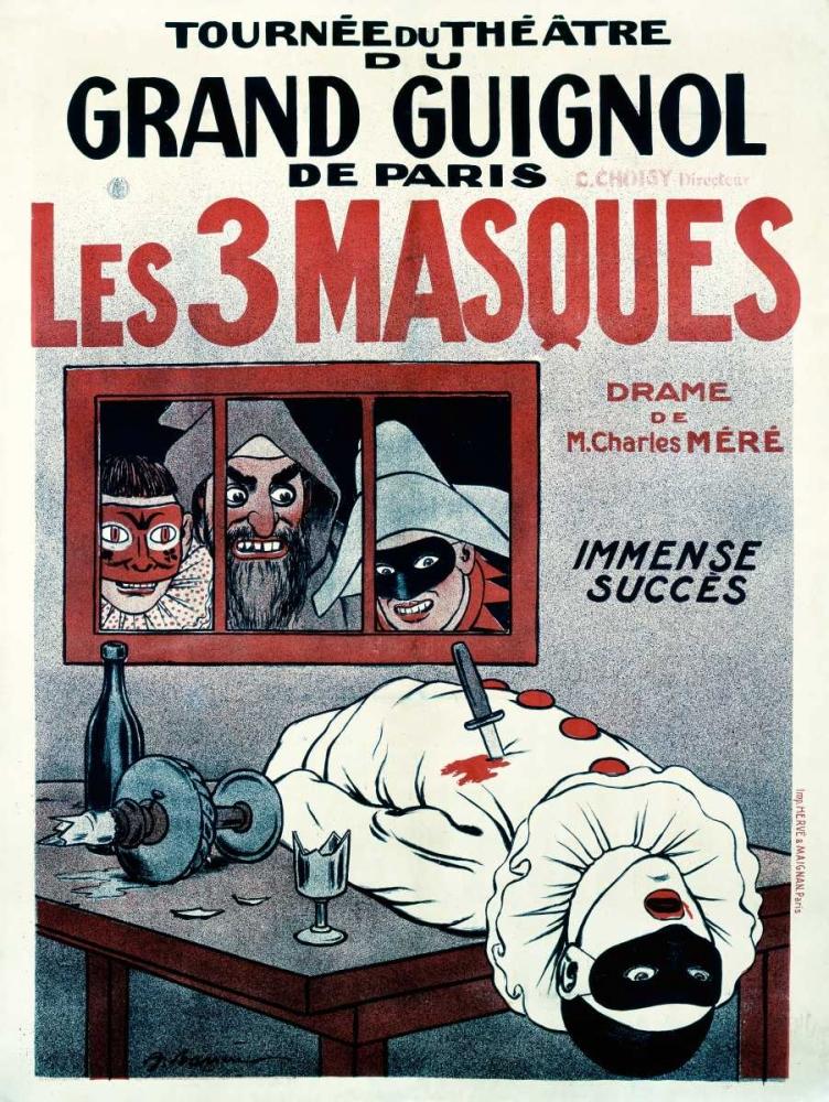 konfigurieren des Kunstdrucks in Wunschgröße Theatre de Grand Guignol / Les 3 Masques von Barrere, Adrien
