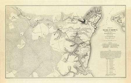 konfigurieren des Kunstdrucks in Wunschgröße Civil War - Official Plan of The Siege of Yorktown Virginia, 1862 von Abbot, Henry L.