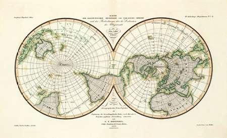 konfigurieren des Kunstdrucks in Wunschgröße Karte Der Magnetischen Meridiane und Parallel-Kreise, 1840 von Berghaus, Heinrich