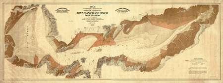 konfigurieren des Kunstdrucks in Wunschgröße Map exhibiting the salt marsh and lands adjacent to the bays of San Francisco and San Pablo, 1874 von Einzelbilder