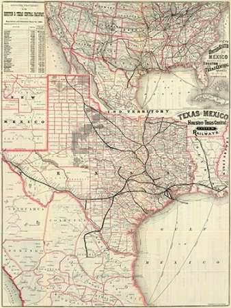konfigurieren des Kunstdrucks in Wunschgröße Texas and Mexico, Houston and Texas Central Railways, 1885 von Einzelbilder