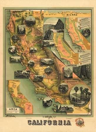 konfigurieren des Kunstdrucks in Wunschgröße The Unique Map of California, 1885 von Einzelbilder