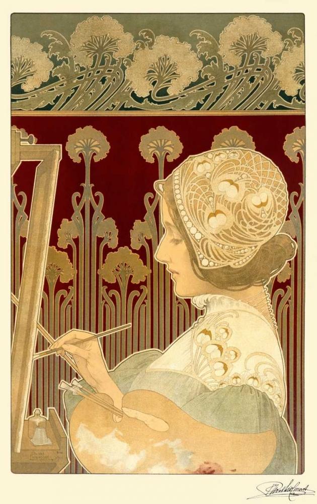 konfigurieren des Kunstdrucks in Wunschgröße Woman Painting von Livemont, Privat