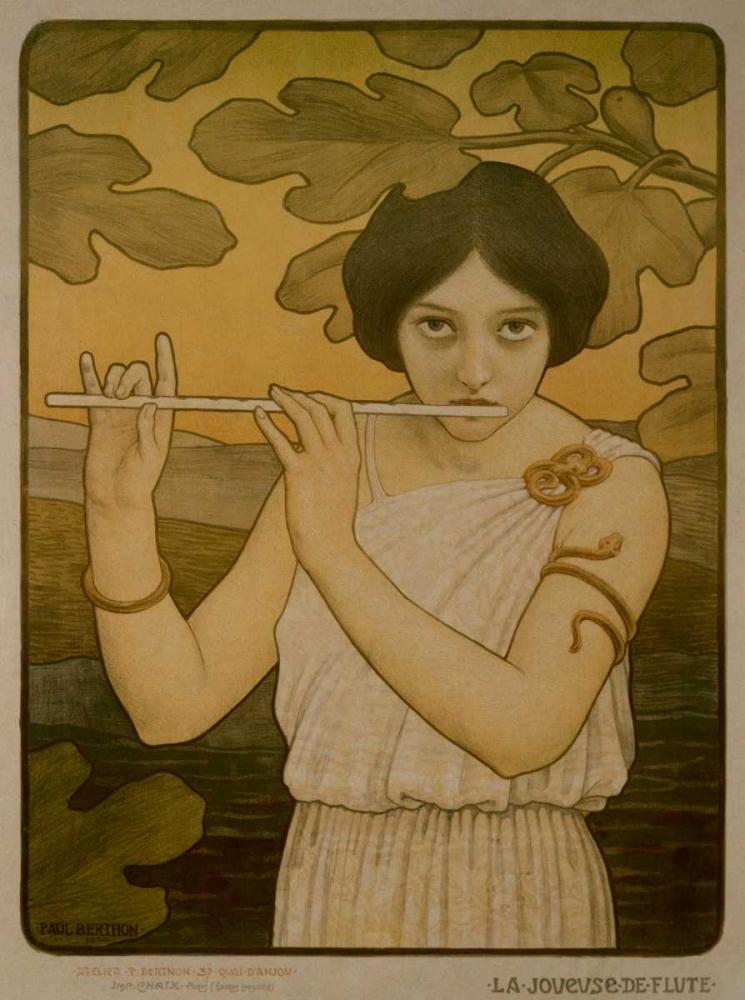 konfigurieren des Kunstdrucks in Wunschgröße La Joyeuse de Flute von Berthon, Paul