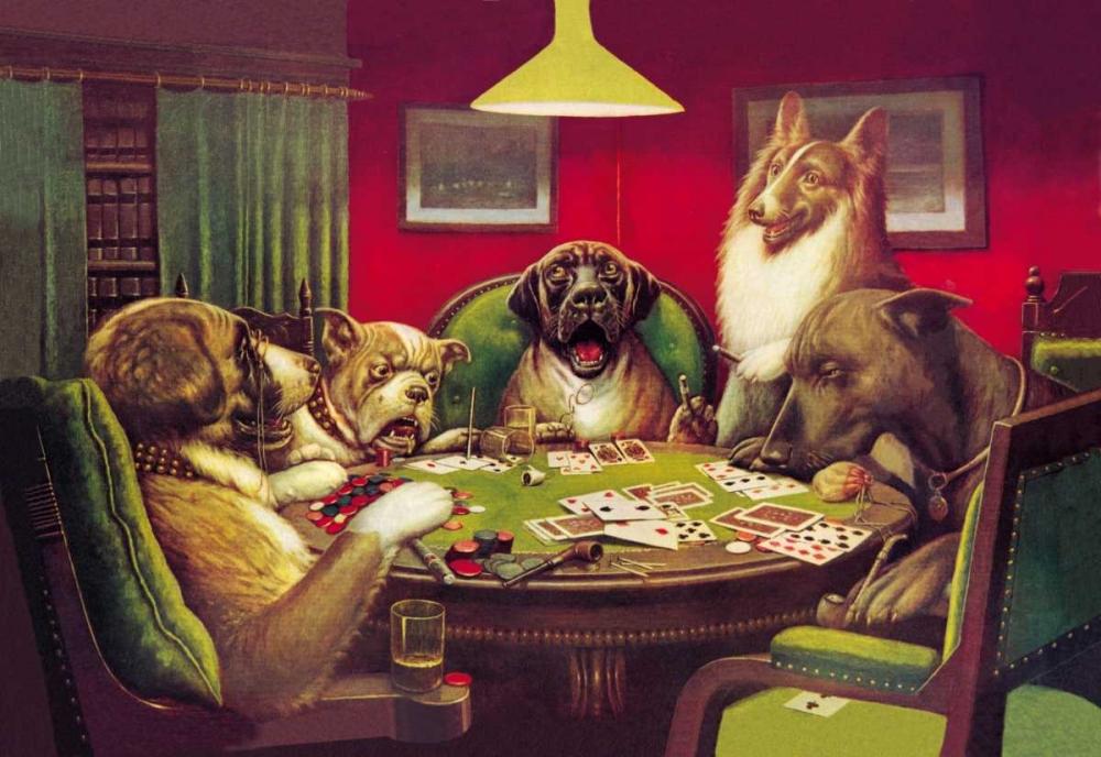 konfigurieren des Kunstdrucks in Wunschgröße Poker Dogs: Stun, Shock and the Win, 1903 von Coolidge, C.M.