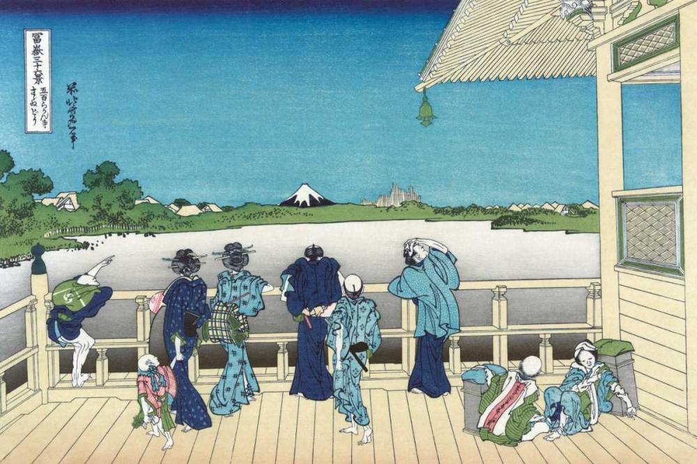 konfigurieren des Kunstdrucks in Wunschgröße Sazai Hall - 500 Rakanji Temple, 1830 von Hokusai