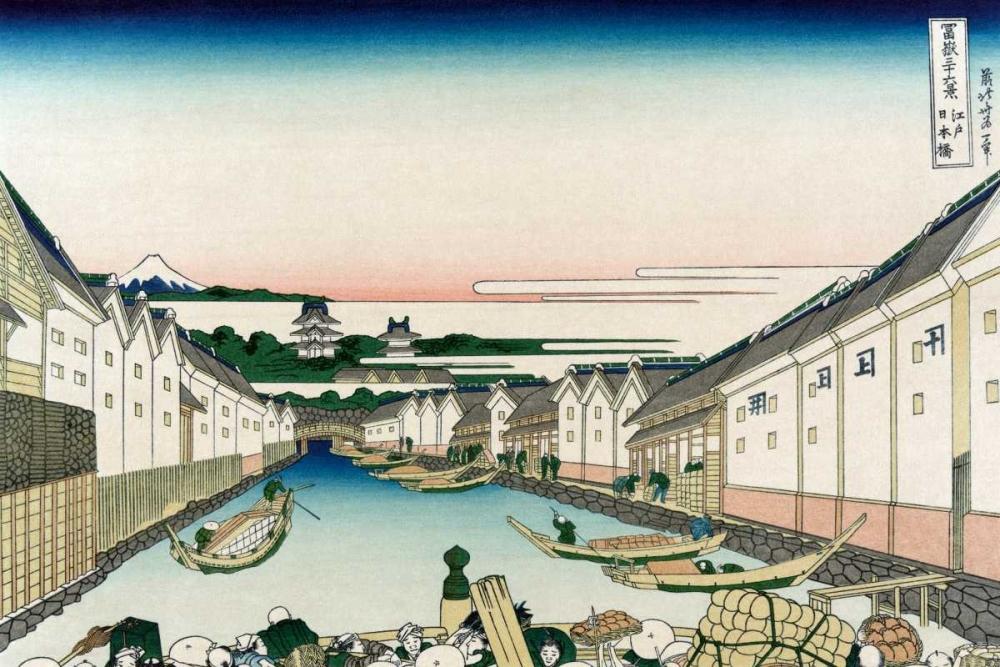 konfigurieren des Kunstdrucks in Wunschgröße Nihonbashi Bridge in Edo, 1830 von Hokusai