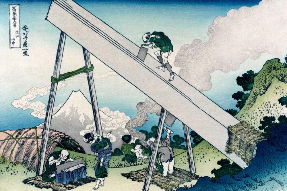 konfigurieren des Kunstdrucks in Wunschgröße Fuji from a Sawyers View, 1830 von Hokusai