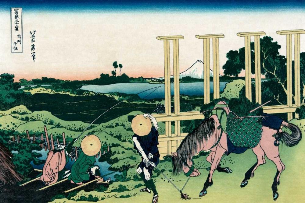 konfigurieren des Kunstdrucks in Wunschgröße Senju in Musashi Province, 1830 von Hokusai