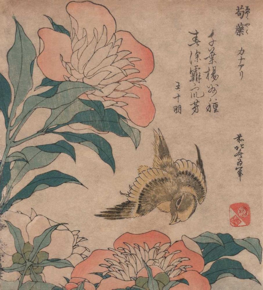 konfigurieren des Kunstdrucks in Wunschgröße Peony and Canary, 1833 von Hokusai
