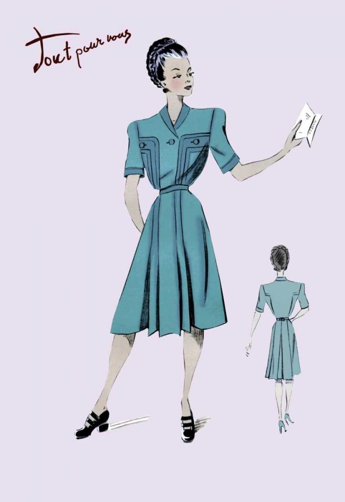 konfigurieren des Kunstdrucks in Wunschgröße Casual Dress in Turquoise, 1947 von Unknown
