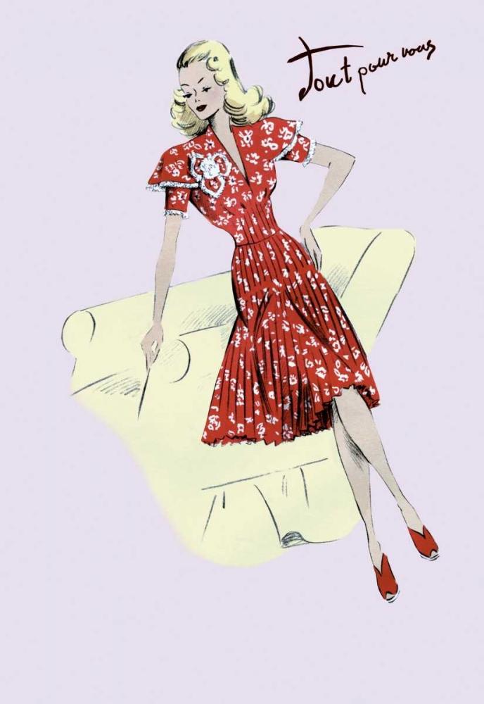 konfigurieren des Kunstdrucks in Wunschgröße Polka-Dot Spring Dress, 1947 von Unknown
