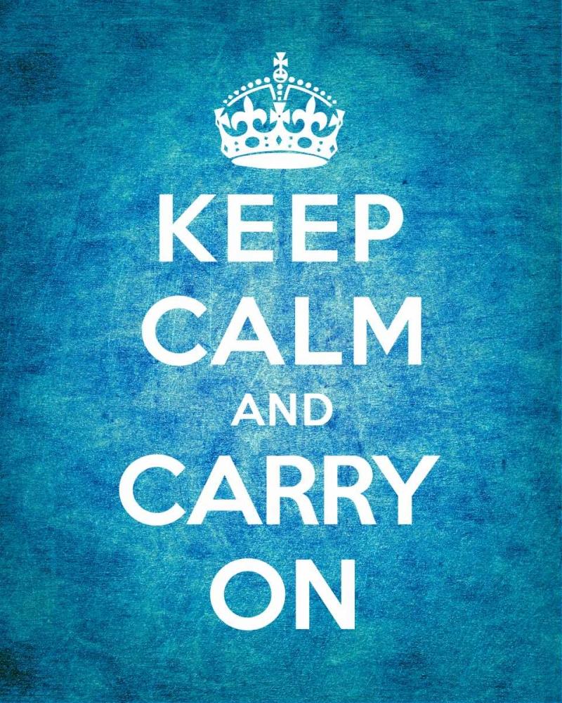 konfigurieren des Kunstdrucks in Wunschgröße Keep Calm and Carry On - Vintage Blue von The British Ministry of Information