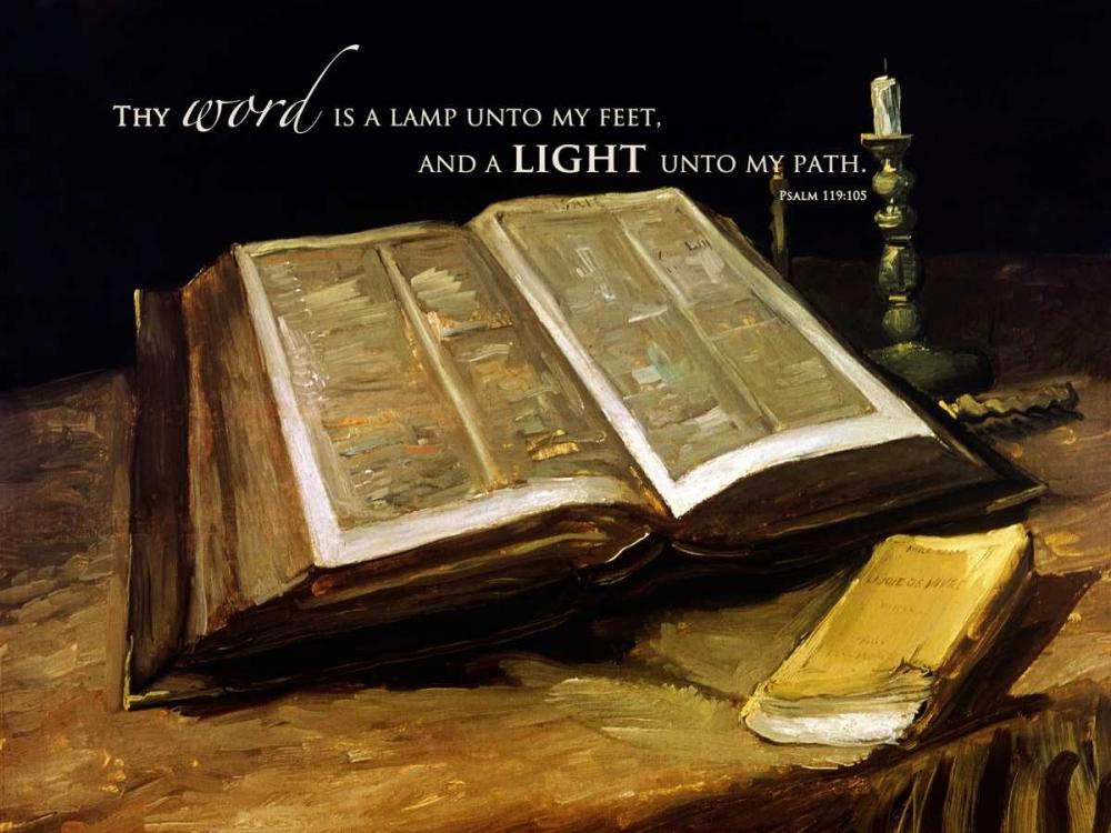 konfigurieren des Kunstdrucks in Wunschgröße The Bible: Still Life with verse von Van Gogh, Vincent