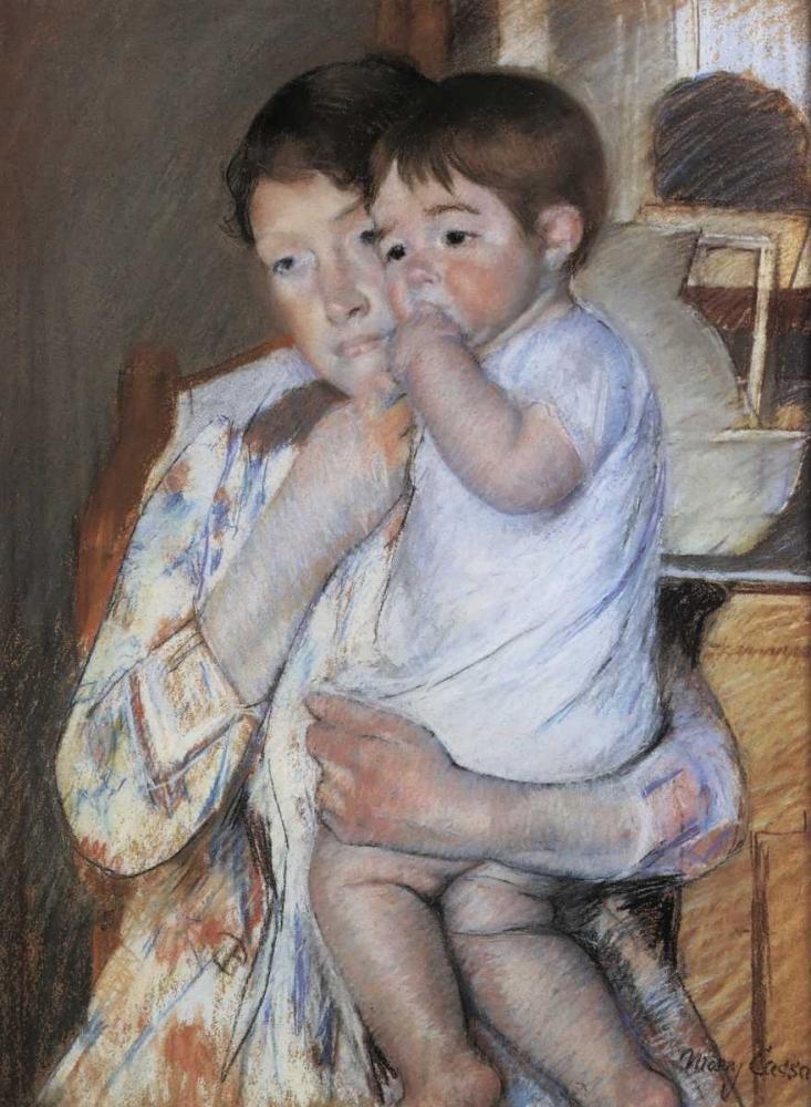 konfigurieren des Kunstdrucks in Wunschgröße Baby In His Mother Arms 1889 von Cassatt, Mary