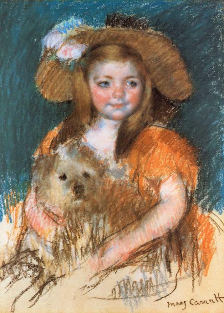 konfigurieren des Kunstdrucks in Wunschgröße Child Holding A Dog 1901 von Cassatt, Mary