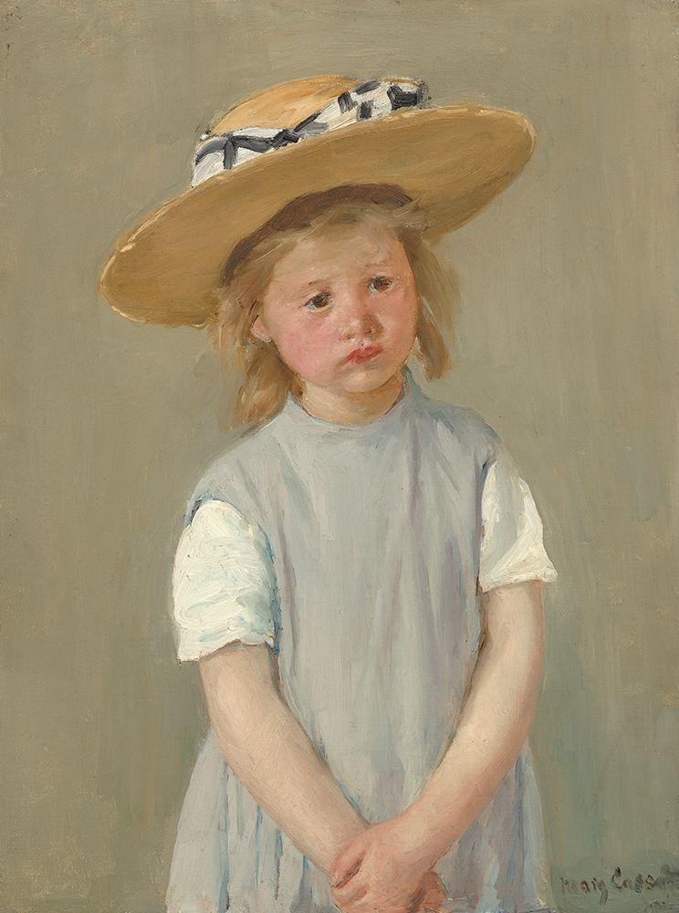 konfigurieren des Kunstdrucks in Wunschgröße Child With Straw Hat - Version 2 von Cassatt, Mary
