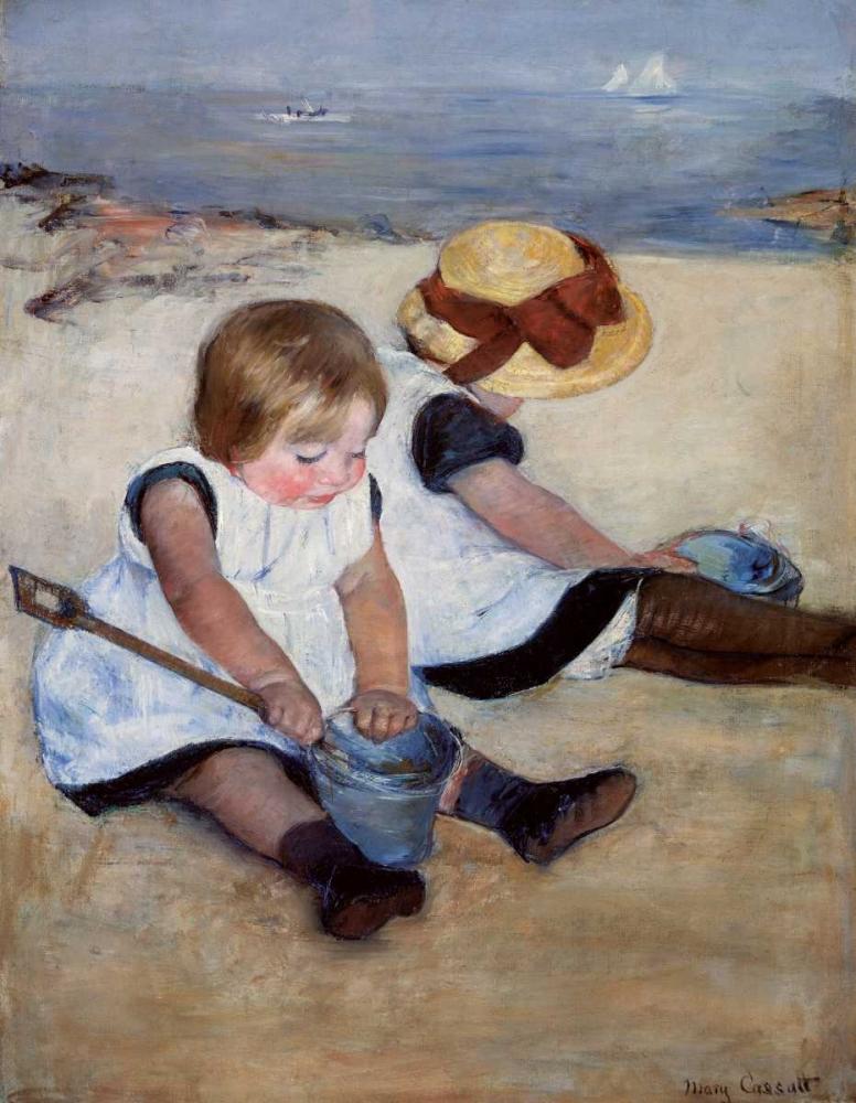 konfigurieren des Kunstdrucks in Wunschgröße Children Playing On The Beach 1884 von Cassatt, Mary