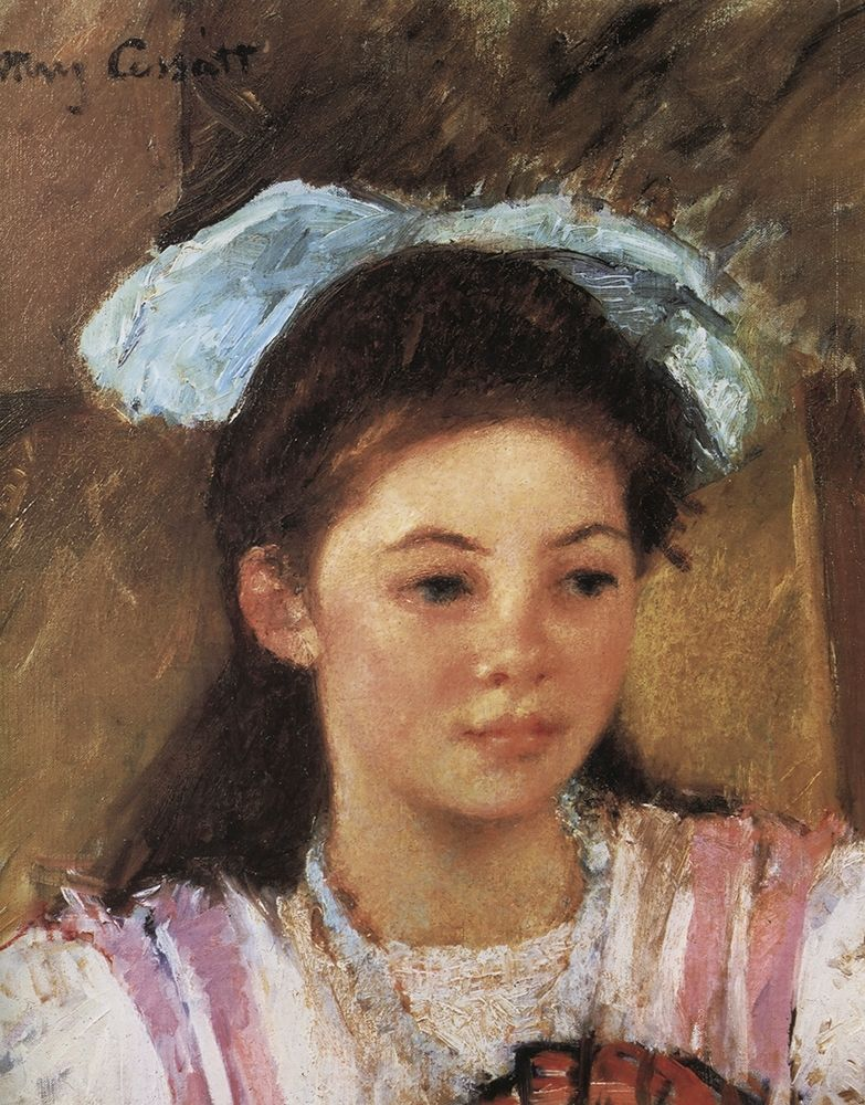 konfigurieren des Kunstdrucks in Wunschgröße Ellen Mary With A Large Bow In Her Hair 1908 von Cassatt, Mary