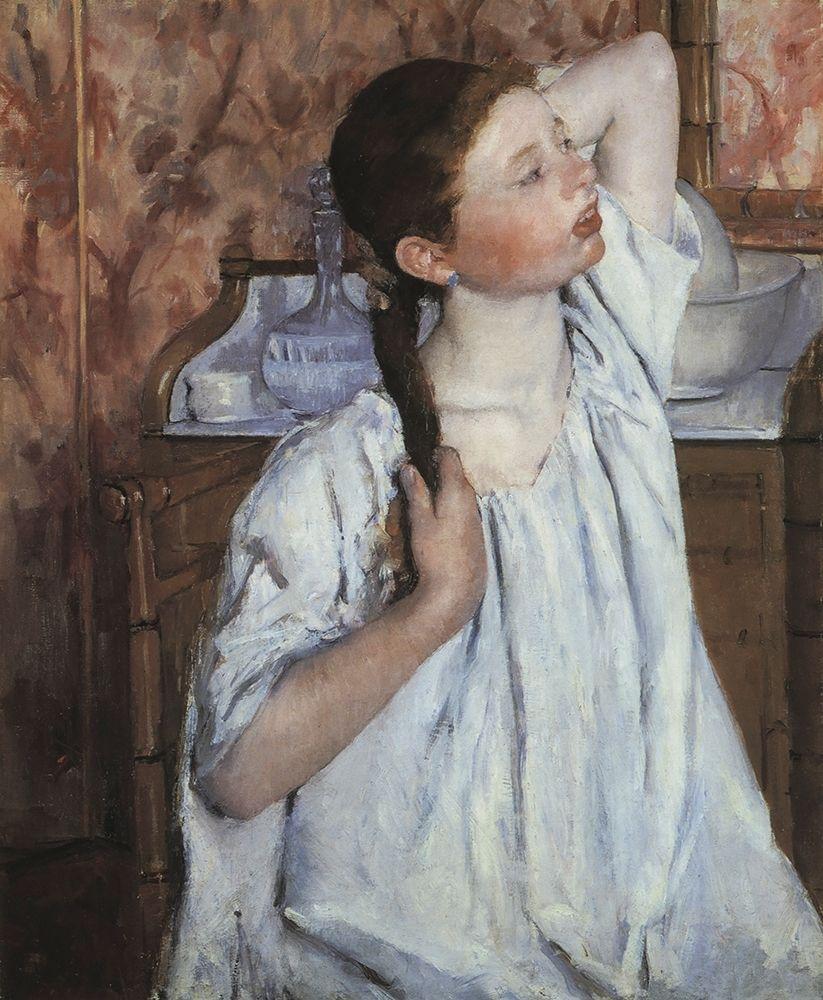 konfigurieren des Kunstdrucks in Wunschgröße Girl Arranging Her Hair 1886 von Cassatt, Mary