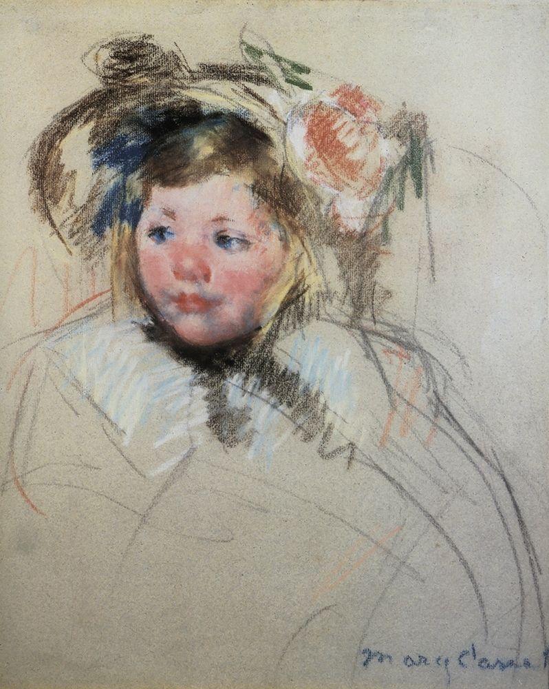 konfigurieren des Kunstdrucks in Wunschgröße Head Of Sara In A Bonnet Looking To The Left 1901 von Cassatt, Mary