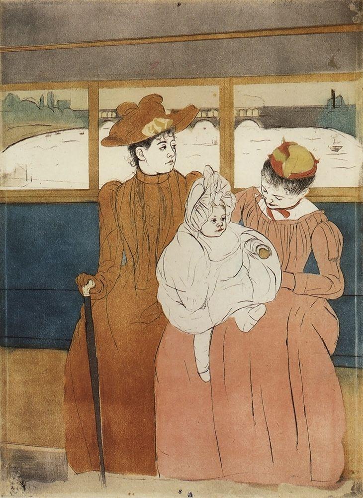 konfigurieren des Kunstdrucks in Wunschgröße Interior Of A Tramway Passing A Bridge 1891 von Cassatt, Mary
