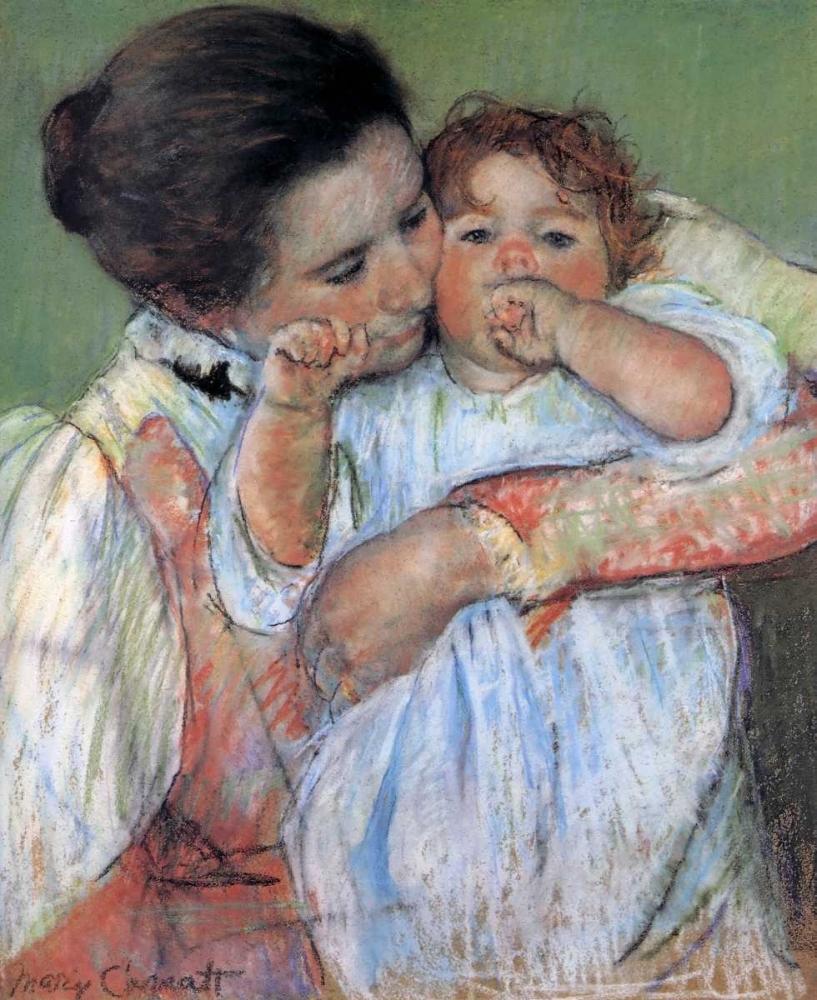 konfigurieren des Kunstdrucks in Wunschgröße Little Anne Sucking Her Finger 1897 von Cassatt, Mary