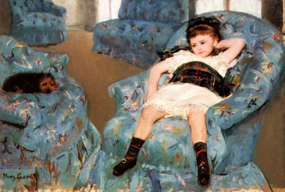 konfigurieren des Kunstdrucks in Wunschgröße Little Girl In A Blue Armchair 1878 von Cassatt, Mary