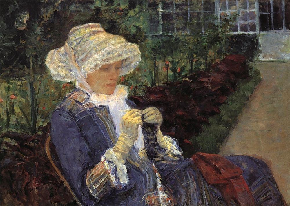 konfigurieren des Kunstdrucks in Wunschgröße Lydia Crocheting In The Garden At Marly 1880 von Cassatt, Mary