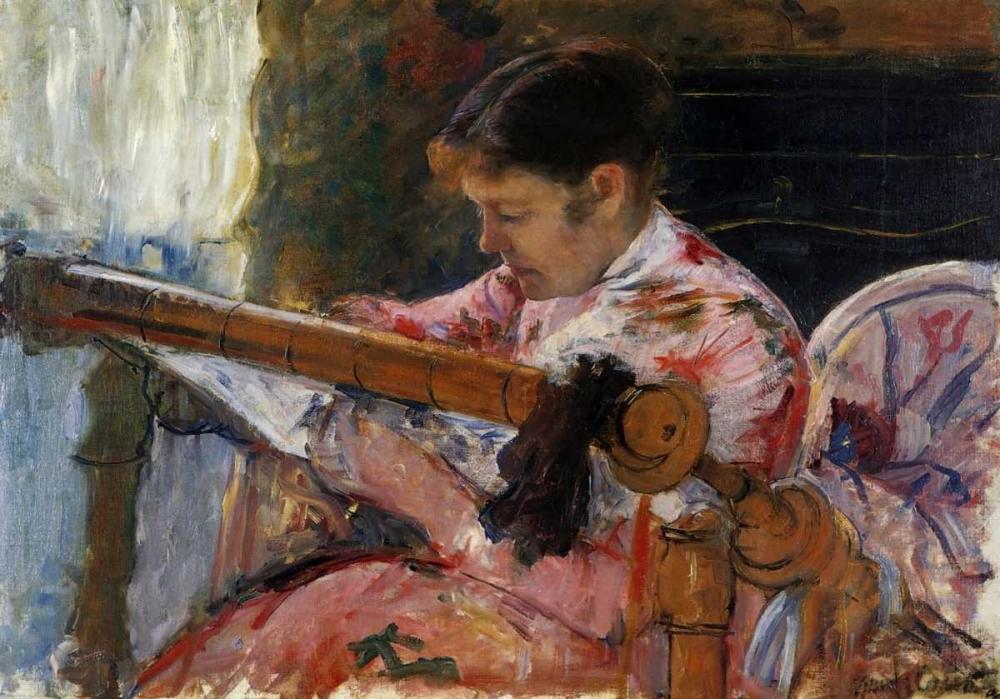 konfigurieren des Kunstdrucks in Wunschgröße Lydia Seated At An Embroidery Frame 1881 von Cassatt, Mary