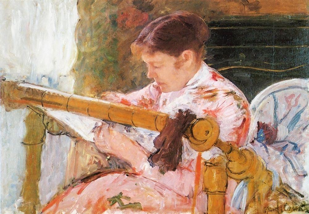 konfigurieren des Kunstdrucks in Wunschgröße Lydia Working At A Tapestry Frame 1881 von Cassatt, Mary