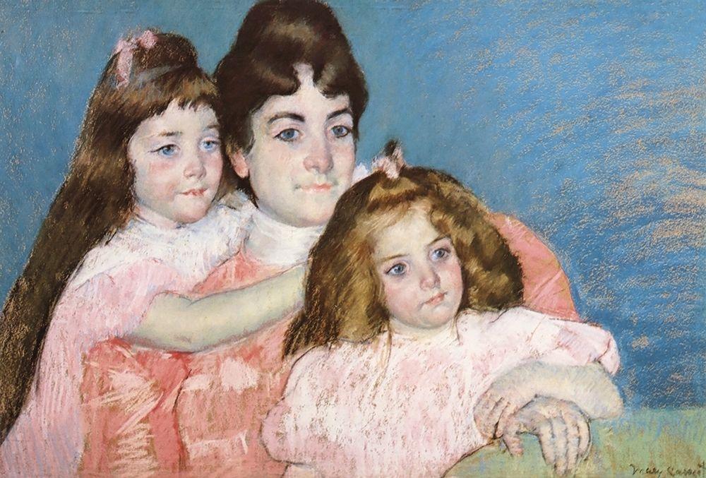 konfigurieren des Kunstdrucks in Wunschgröße Madame Aude And Her Two Daughters 1899 von Cassatt, Mary