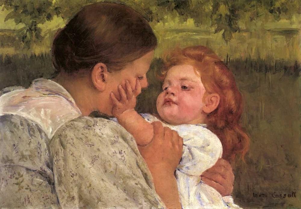 konfigurieren des Kunstdrucks in Wunschgröße Maternal Caress 1896 von Cassatt, Mary