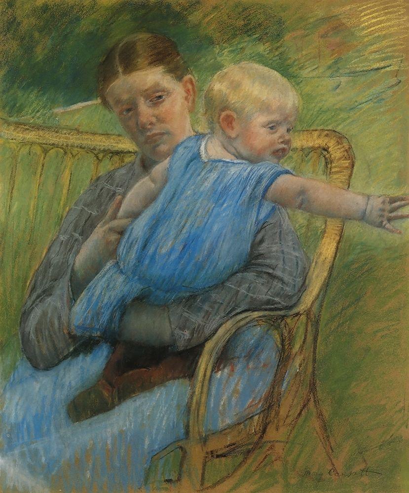 konfigurieren des Kunstdrucks in Wunschgröße Mathilde Holding A Baby Who Reaches Out To The Right 1889 von Cassatt, Mary