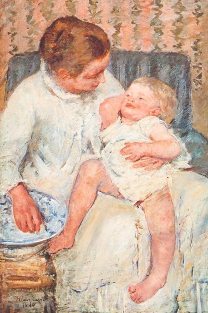konfigurieren des Kunstdrucks in Wunschgröße Mother About To Wash Her Sleepy Child von Cassatt, Mary