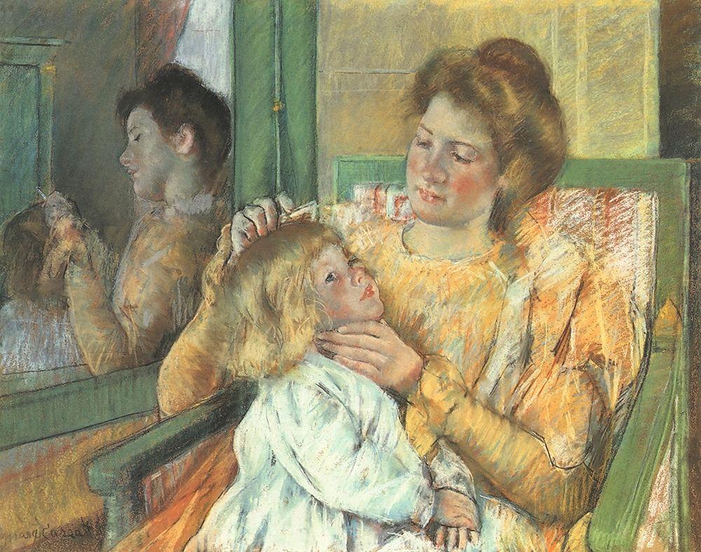 konfigurieren des Kunstdrucks in Wunschgröße Mother Combing Her Childs Hair 1898 von Cassatt, Mary