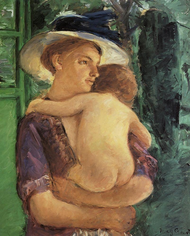 konfigurieren des Kunstdrucks in Wunschgröße Mother In Hat Holding Her Nude Baby Seen In Back View 1909 von Cassatt, Mary