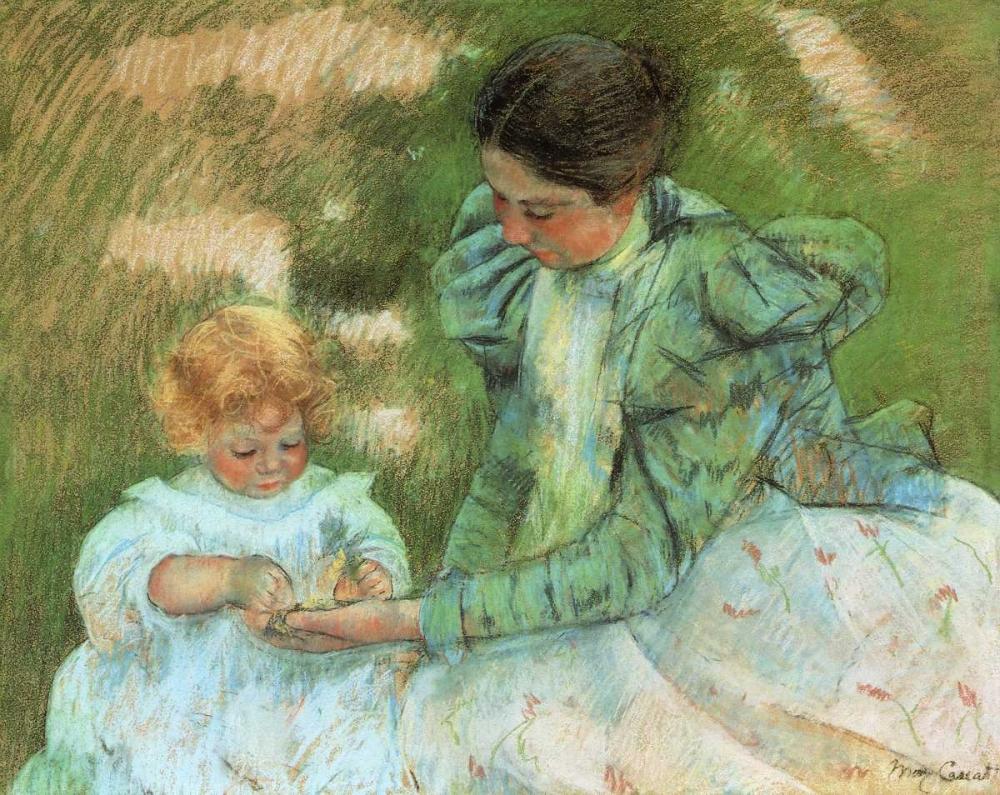 konfigurieren des Kunstdrucks in Wunschgröße Mother Playing With Her Child 1897 von Cassatt, Mary