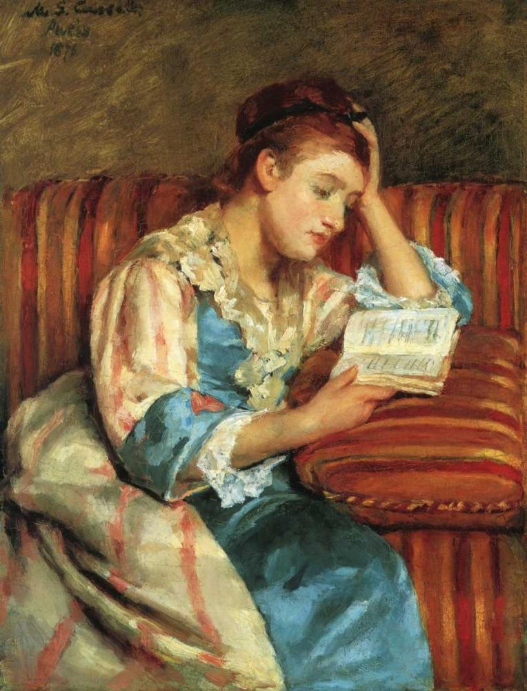 konfigurieren des Kunstdrucks in Wunschgröße Mrs Duffee Seated On A Striped Sofa 1876 von Cassatt, Mary