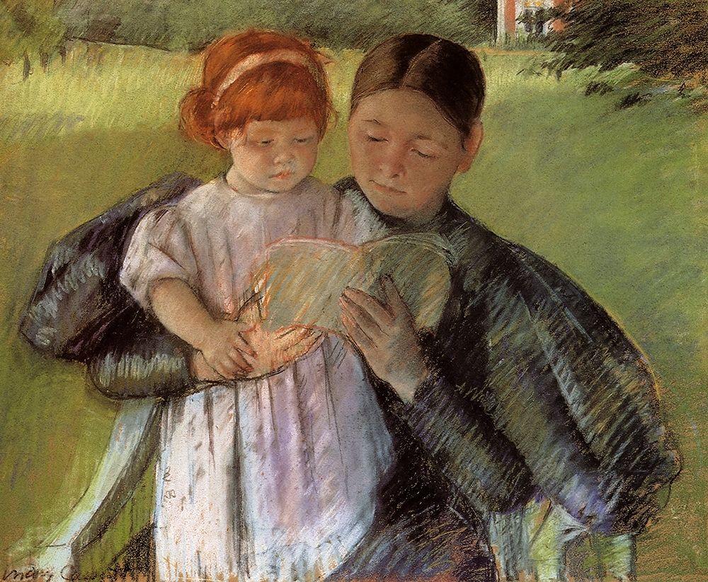 konfigurieren des Kunstdrucks in Wunschgröße Nurse Reading To A Little Girl 1895 von Cassatt, Mary