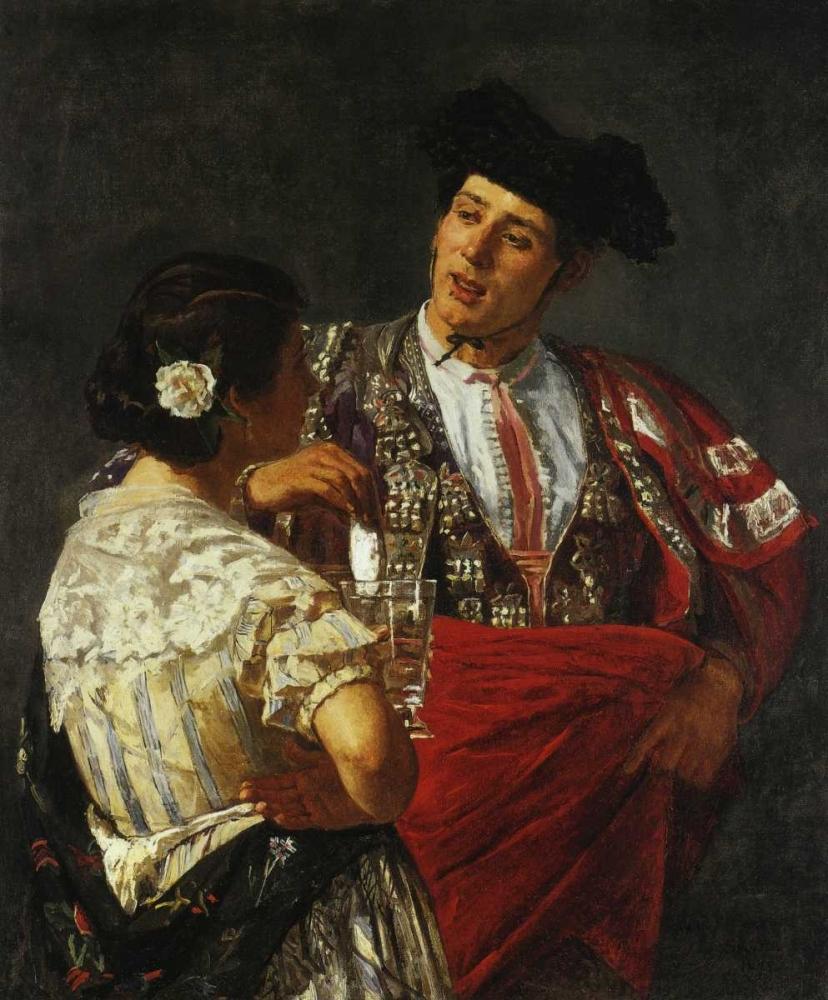 konfigurieren des Kunstdrucks in Wunschgröße Offering The Panal To The Bullfighter 1872 von Cassatt, Mary