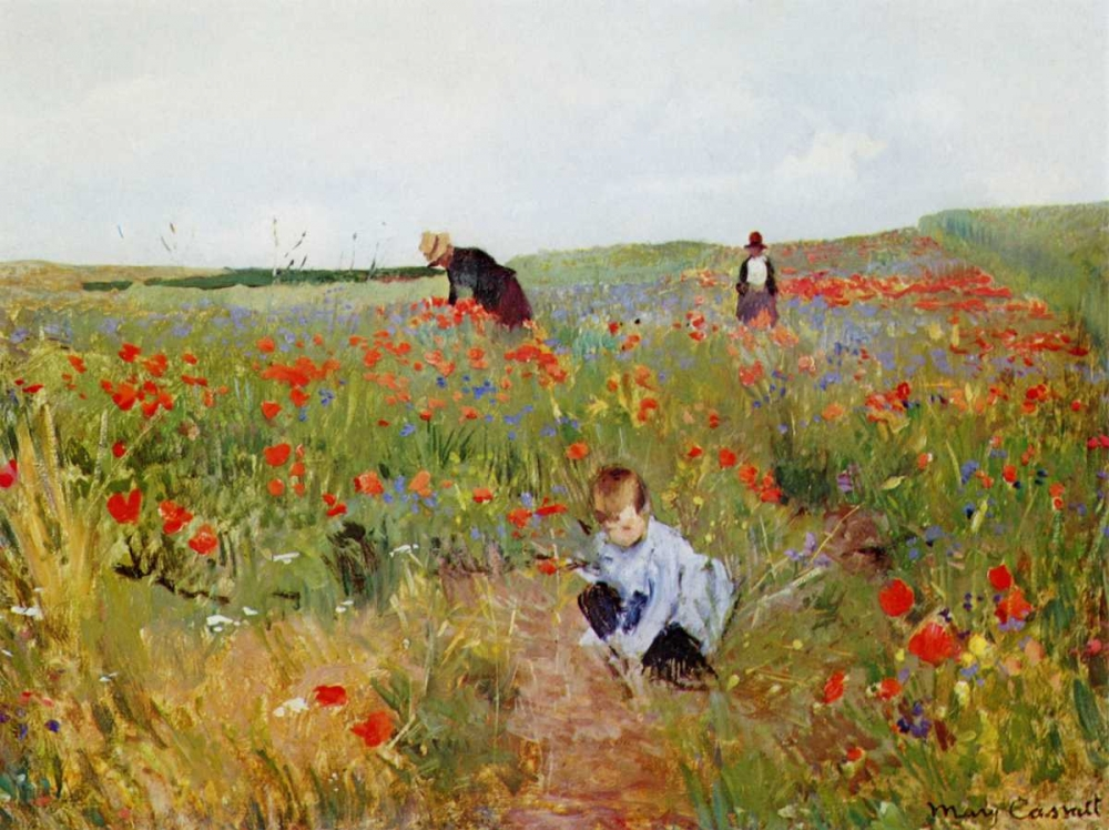 konfigurieren des Kunstdrucks in Wunschgröße Poppies In A Field 1880 von Cassatt, Mary