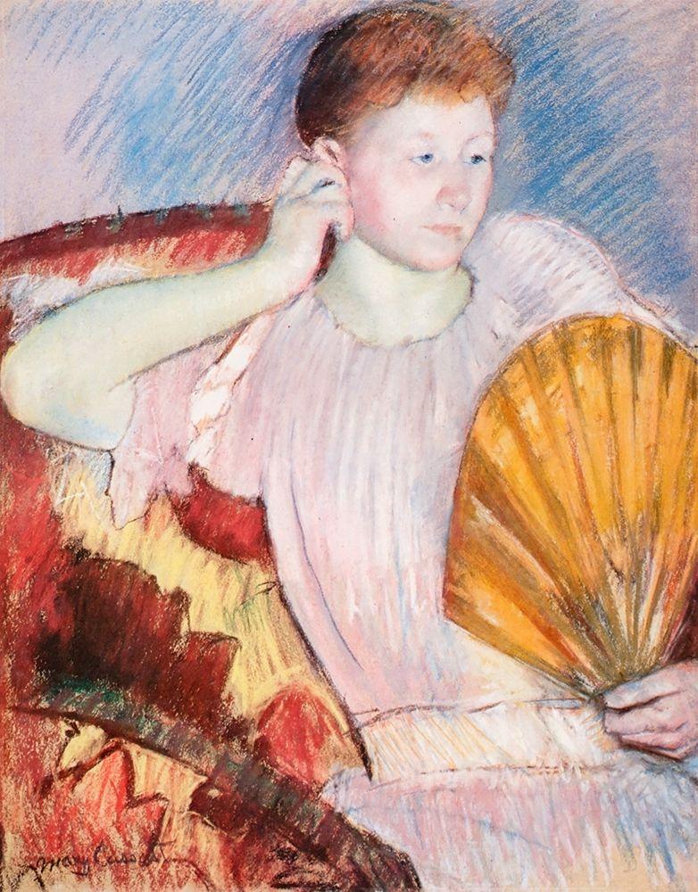 konfigurieren des Kunstdrucks in Wunschgröße Portrait Of A Woman With A Fan von Cassatt, Mary