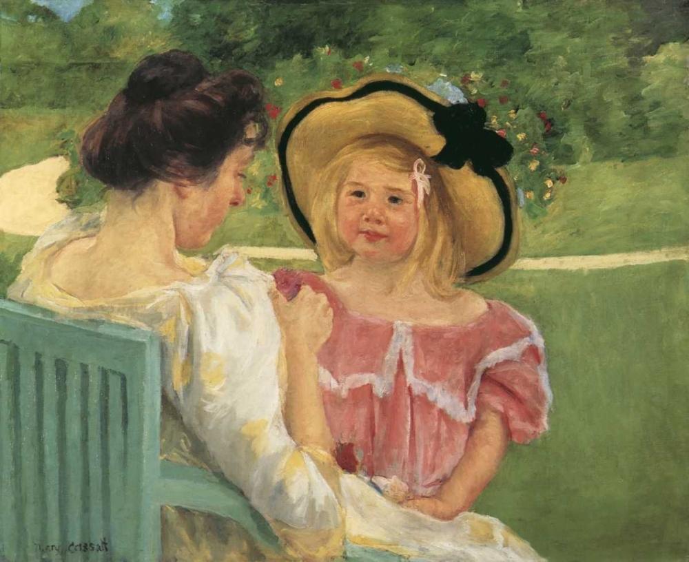 konfigurieren des Kunstdrucks in Wunschgröße Simone And Her Mother In The Garden 1904 von Cassatt, Mary