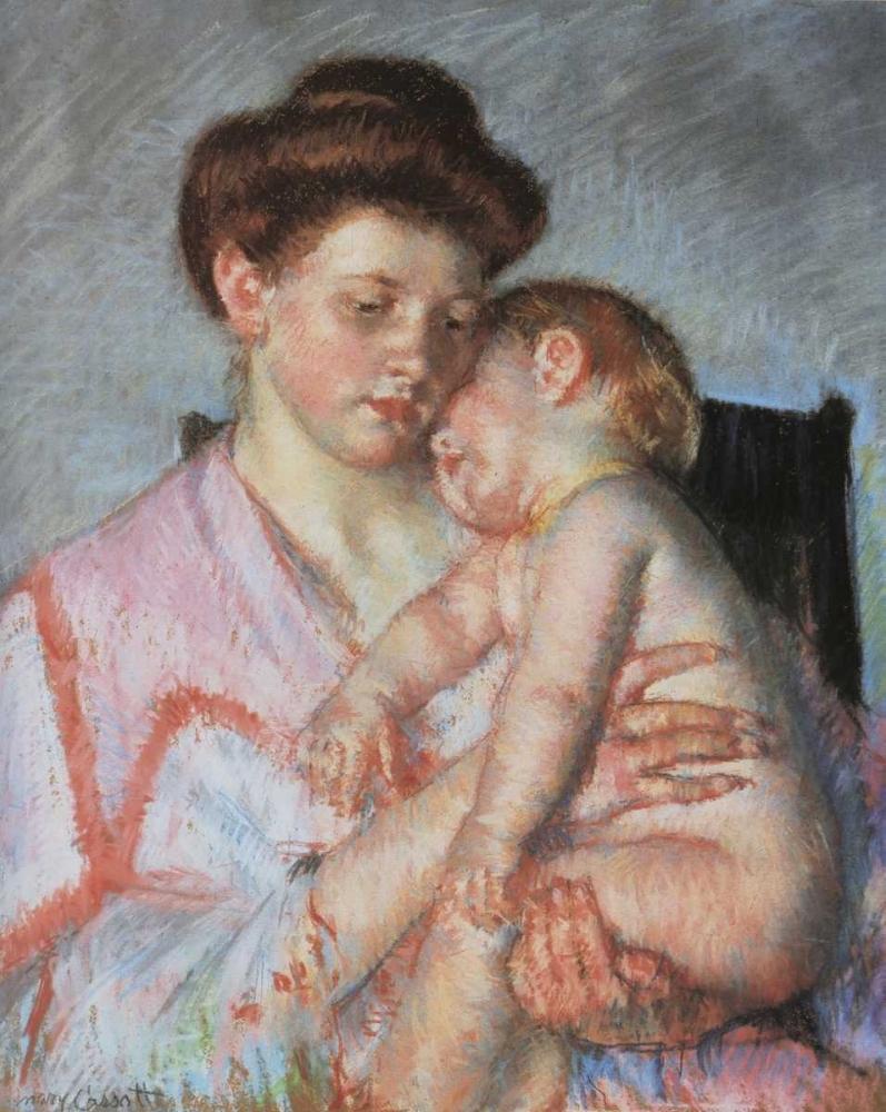 konfigurieren des Kunstdrucks in Wunschgröße Sleepy Baby 1910 von Cassatt, Mary