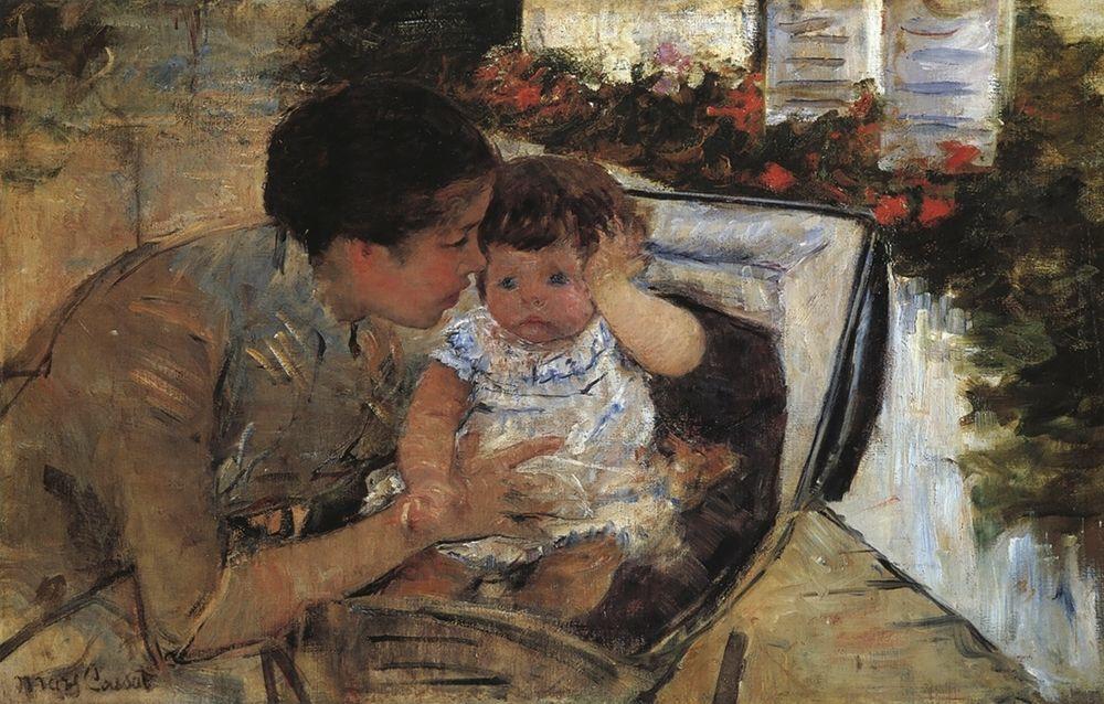 konfigurieren des Kunstdrucks in Wunschgröße Susan Comforting The Baby 1881 von Cassatt, Mary