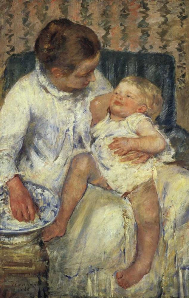 konfigurieren des Kunstdrucks in Wunschgröße The Childs Bath 1880 von Cassatt, Mary